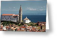Piran Slovenia With St George's Cathedral Belfry And Baptistery  Greeting Card