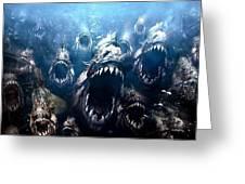 Piranha 3d Greeting Card