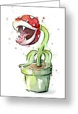 Piranha Plant Watercolor Greeting Card