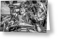 Pirate Captain And Parrots Black And White Greeting Card