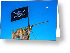 Pirate Flag And Moon Greeting Card