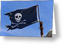 Pirate Flag Skull And Cross Bones Greeting Card by Garry Gay