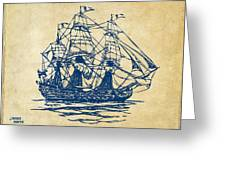 Pirate Ship Artwork - Vintage Greeting Card