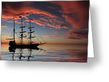 Pirate Ship At Sunset Greeting Card