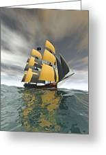 Pirate Ship On The High Seas Greeting Card