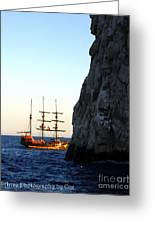 Pirate Ship Sunset Sea Of Cortez Cabo Greeting Card