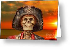 Pirate Skeleton Sunset Greeting Card by Randy Steele