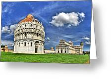 Pisa - Baptistry Duomo And Leaning Tower Greeting Card