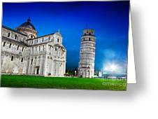 Pisa Cathedral With The Leaning Tower Of Pisa, Tuscany, Italy At Night Greeting Card
