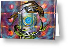 Pisces With Six Fence Lotus Greeting Card