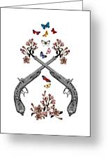 Pistols Wit Flowers And Butterflies Greeting Card