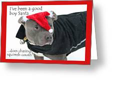 Pit Bull Christmas Two Greeting Card