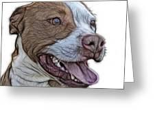Pit Bull Fractal Pop Art - 7773 - F - Wb Greeting Card