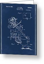 Pitch Fork Fiddle And Drum Patent 1936 - Blue Greeting Card