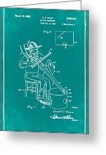 Pitch Fork Fiddle And Drum Patent 1936 - Green Greeting Card