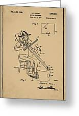Pitch Fork Fiddle And Drum Patent 1936 - Sepia Greeting Card