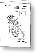 Pitch Fork Fiddle And Drum Patent 1936 - White Greeting Card