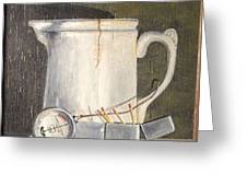 Pitcher, Meter And Matches Still Life Greeting Card