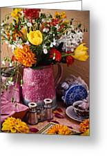 Pitcher Of Flowers Still Life Greeting Card
