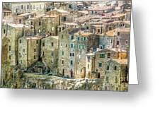 Pitigliano Houses Closeup Grosseto Tuscany Greeting Card