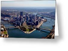 Pittsburgh Aerial Digital Painting Greeting Card