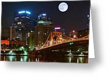 Pittsburgh Full Moon Panoramic Greeting Card