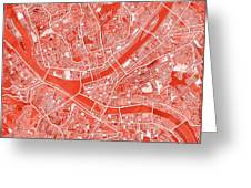 Pittsburgh Map Red Greeting Card