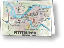 Pittsburgh Pennsylvania Fine Art Print Retro Vintage Map With Touristic Highlights Greeting Card