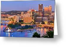 Pittsburgh Pennsylvania Skyline At Dusk Sunset Panorama Greeting Card