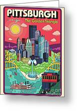 Pittsburgh Poster - Pop Art - Travel Greeting Card