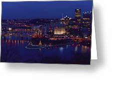 Pittsburgh Skyline At Night Christmas Time Greeting Card