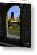 Pittsburgh Skyline, North Shore Arch, Pittsburgh, Pa  Greeting Card