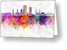 Pittsburgh V2 Skyline In Watercolor Background Greeting Card