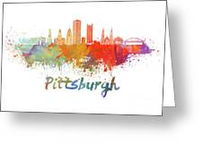 Pittsburgh V2 Skyline In Watercolor Greeting Card