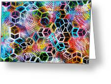 Pixelated Cubes Greeting Card