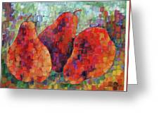 Pixelated Red Pears Greeting Card