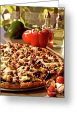 Pizza At Restaurant  Greeting Card