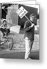 Placard Carrier No Gulf War Rally Federal Building Tucson Arizona 1991  Greeting Card