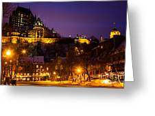 Place-royale At Twilight Quebec City Canada Greeting Card