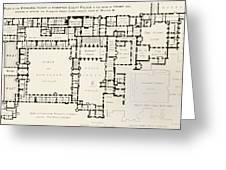 Plan Of Principal Floor Of Hampton Greeting Card