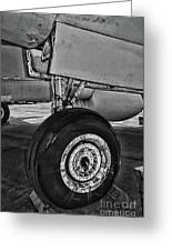 Plane - Landing Gear In Black And White Greeting Card