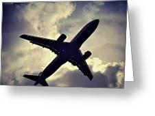 Plane Landing In London Greeting Card