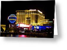 Planet Hollywood By Night Greeting Card
