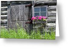 Planter On Log Barn Greeting Card