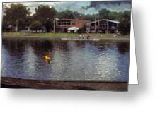 Plastic Buoy In Front Of A Lake Greeting Card
