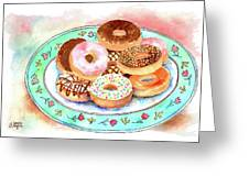 Plate Of Donuts Greeting Card
