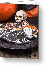 Plate Of Halloween Sugar Cookies Greeting Card