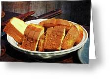 Plate With Sliced Bread And Knives Greeting Card