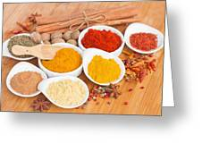Plates Of Spices  Greeting Card