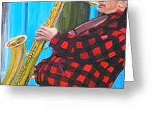 Play It Mr Sax Man Greeting Card